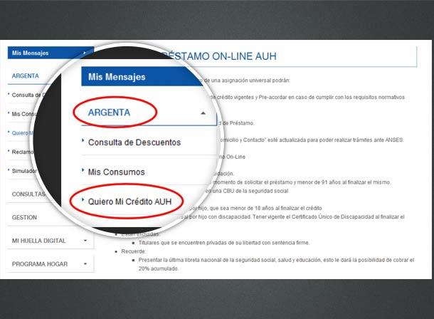 Sacar crédito ARGENTA online AUH